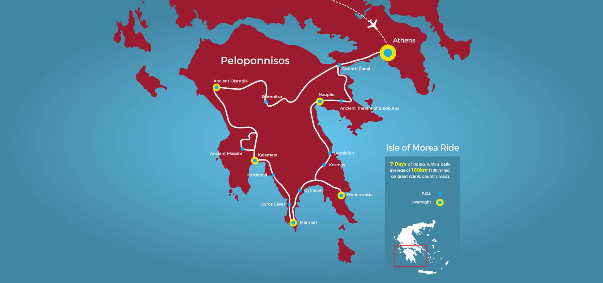 The isle of Morea Tour Map